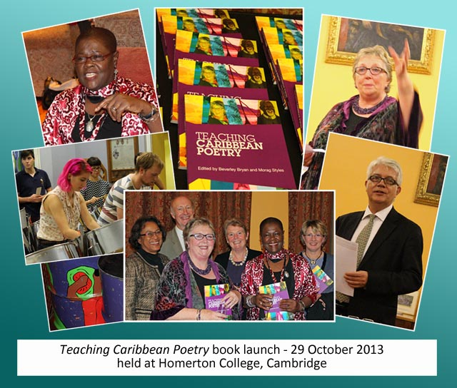 Montage of images from Teaching Caribbean Poetry book launch on 29 Oct 2013